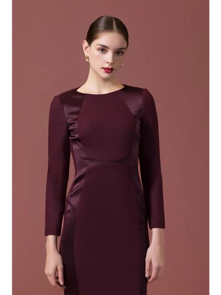 古色女装品牌2020秋冬酒红色气质修身魅力连衣裙