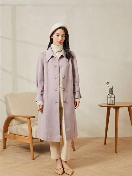 片断女装品牌2020秋冬浅紫色时尚女神范毛呢大衣