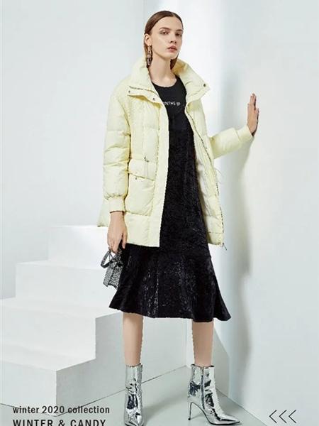 YXZ尤西子女装品牌2020秋冬淡黄色气质女神羽绒服