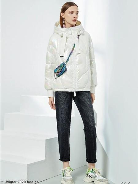 YXZ尤西子女装品牌2020秋冬快时尚白色高领羽绒服
