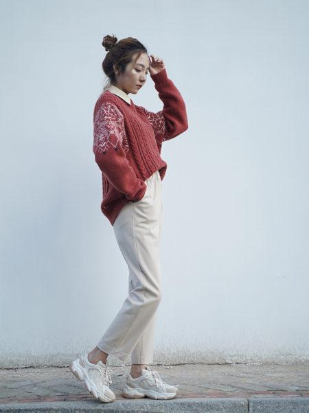 薇薇希女装品牌2020秋冬红色国风国潮印花针织衫