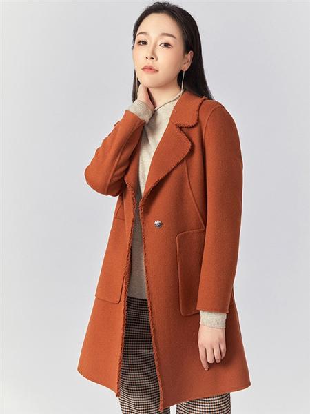 圣可尼女装品牌2020秋冬橘红色方袋毛边毛呢大衣