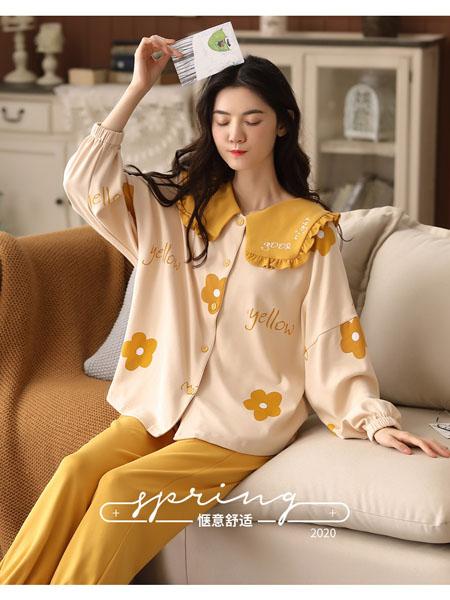 宾冠家居用品品牌2020秋冬黄色笑话可爱甜美风家居服