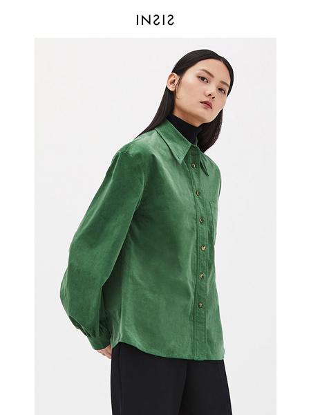 INSIS FEMME女装品牌2020秋冬绿色灯笼袖时尚衬衫