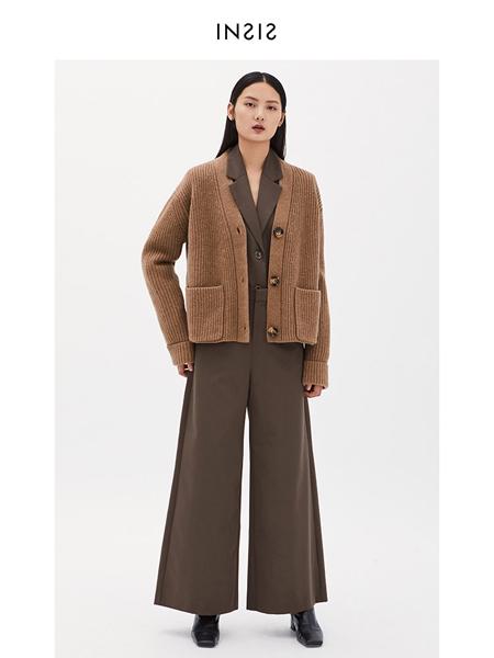 INSIS FEMME女装品牌2020秋冬咖啡色方袋简约针织开衫
