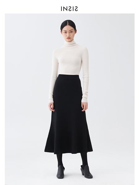 INSIS FEMME女装品牌2020秋冬黑色高腰包臀修身鱼尾裙