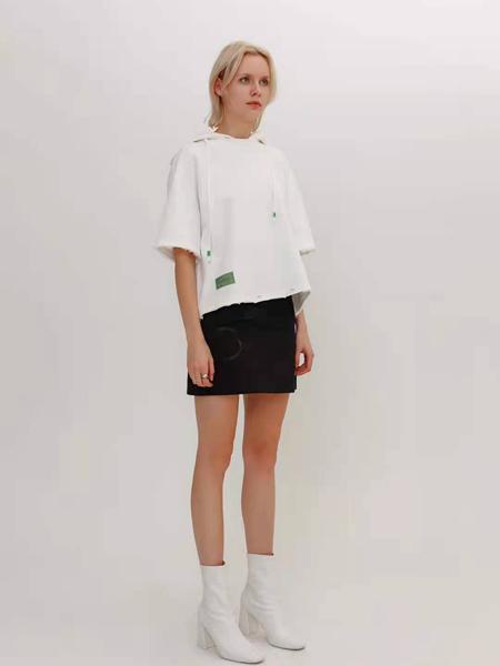 狩妖女装品牌2021春夏白色毛边连帽外卫衣