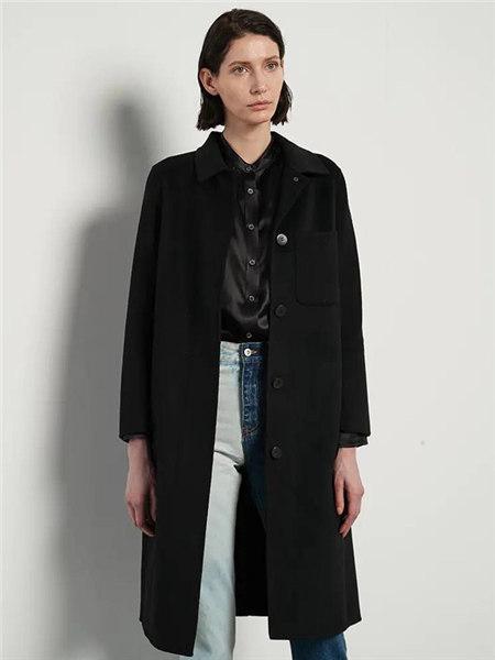 己以女装品牌2020秋冬黑色潮流快时尚长款大衣
