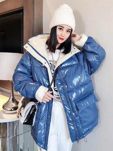 每依站女装品牌2020秋冬欧美外贸蓝色