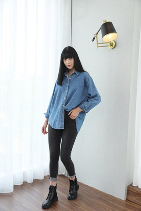 艾诺绮女装品牌2020秋冬蓝色衬衫