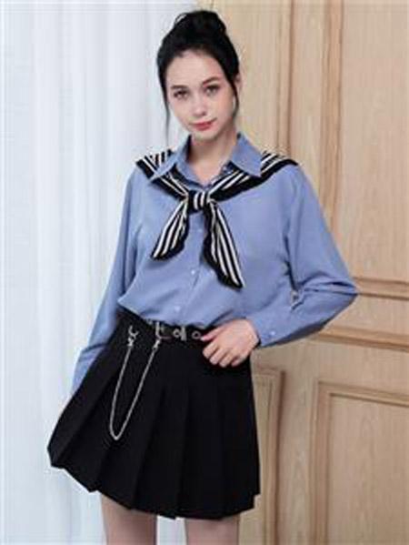 艾诺绮女装品牌2020秋冬蓝色领带衬衫