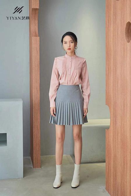 艺燕女装品牌2021春季粉色衬衫