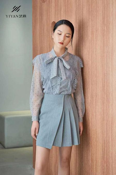 艺燕女装品牌2021春夏天蓝色衬衫套装