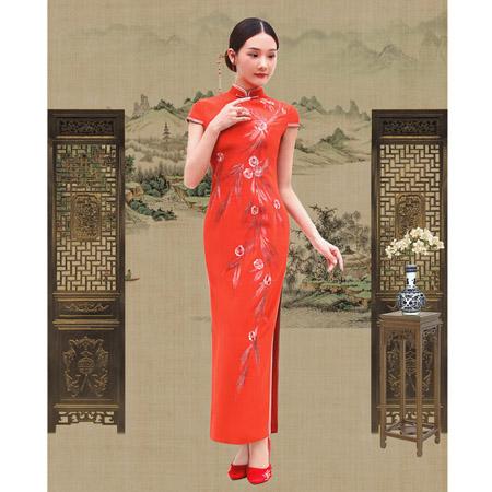 榕臣女装品牌2021春夏红色旗袍