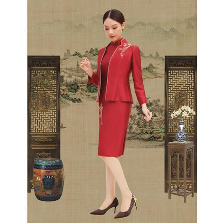榕臣女装品牌2021春夏大红色旗袍套装