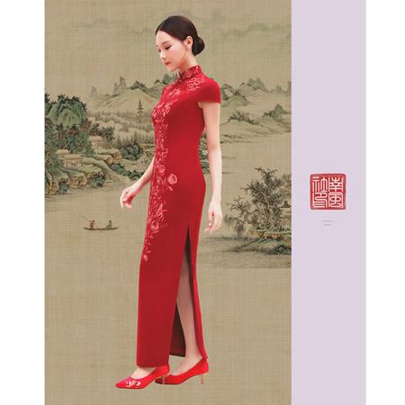 榕臣女装品牌2021春夏大红色长款旗袍