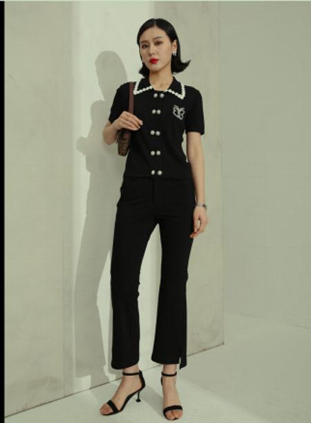 例沿女装品牌2021春夏黑色珍珠短袖