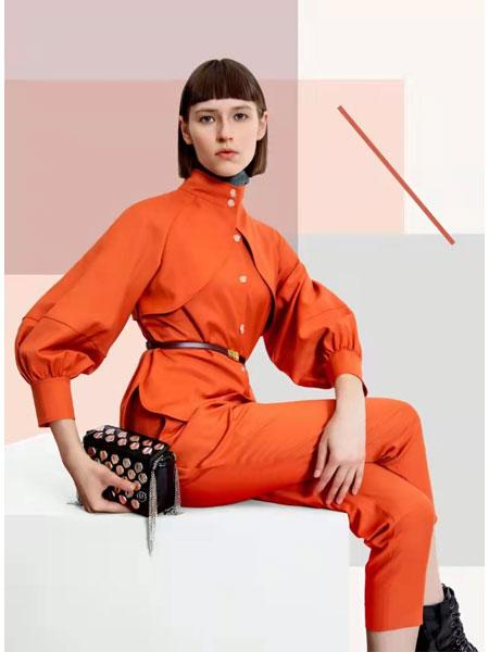 卡汶女装品牌2021春夏橘色OL商务