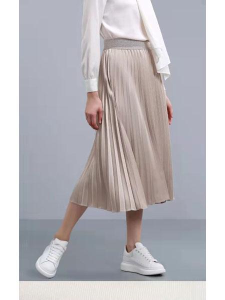 卡汶女装品牌2021春夏中长款半身裙俏皮