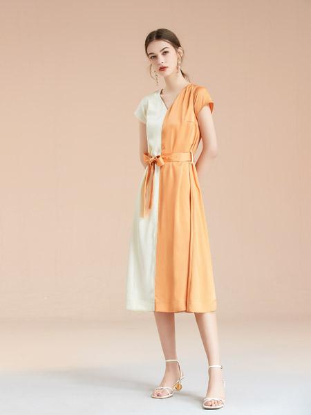 艾丽哲女装品牌2021春夏撞色连衣裙短袖