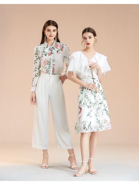艾丽哲女装品牌2021春夏雪纺两件套中长款