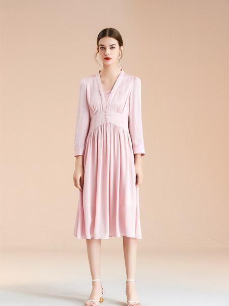 艾丽哲女装品牌2021春夏修身中长款连衣裙