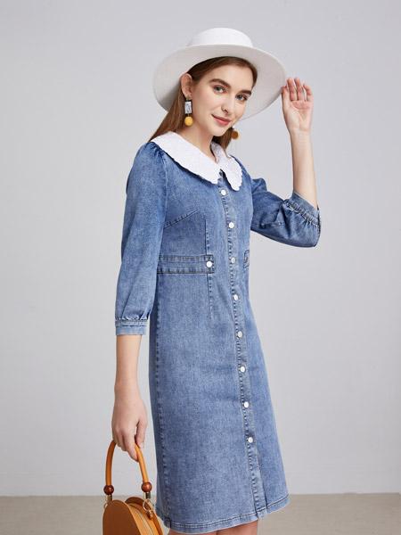 城市衣柜女装品牌2021春夏蓝色俏皮中长款外套