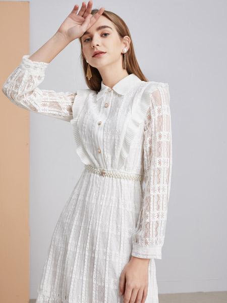 城市衣柜女装品牌2021春夏白色雪纺连衣裙