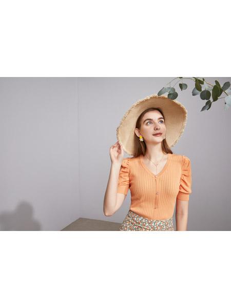 城市衣柜女装品牌2021春夏橘色俏皮慵懒风