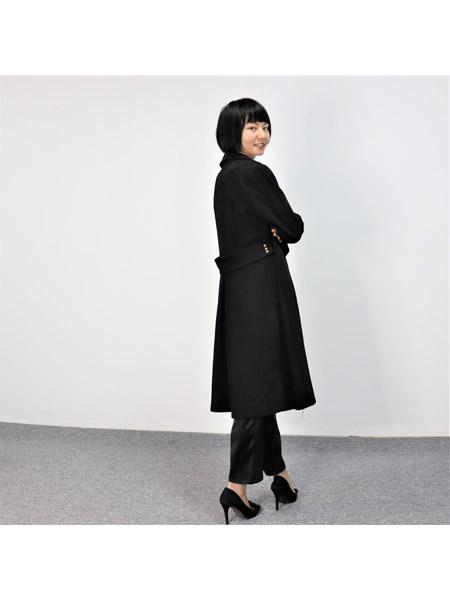 靓漫蒂女装品牌2021春夏黑色修身中长款外套