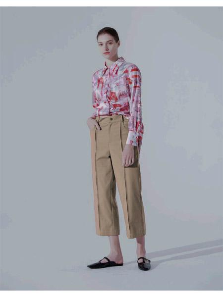 奕色女装品牌2021春夏撞色衬衫九分裤