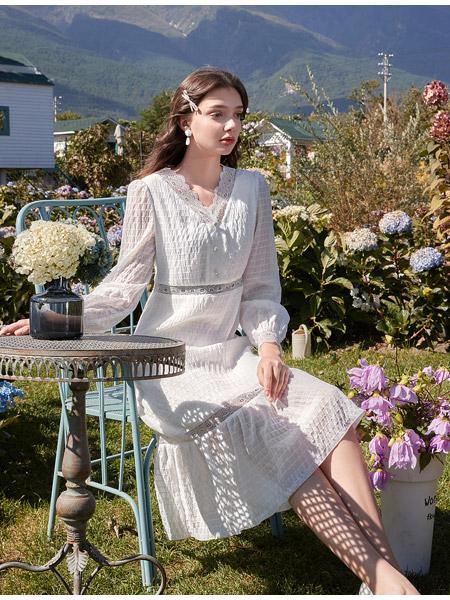 春美多女装品牌2021春夏雪纺中长款连衣裙