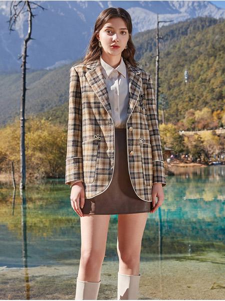 春美多女装品牌2021春夏淑女千鸟格短款外套