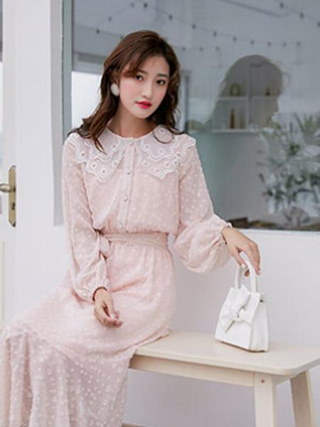 樱语茉莉女装品牌2021春夏雪纺百搭连衣裙