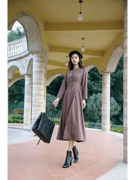 米可秋赋女装品牌秋冬新款连衣裙长袖