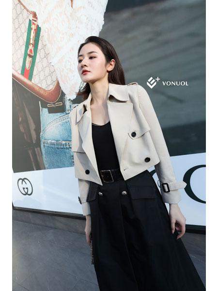E+vonuol我的私人衣橱女装品牌2021春装黑色中长款连衣裙