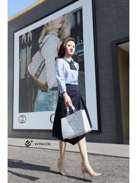 E+vonuol我的私人衣橱女装品牌2021春装OL文艺范中气质长款裙子