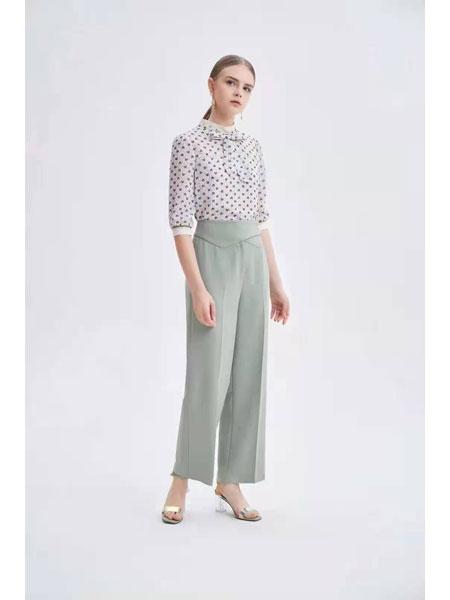 红凯贝尔女装品牌2021春夏雪纺高腰长裤