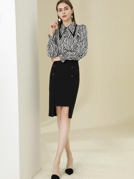 爱依莲女装品牌彩38平台2021春夏黑色中长款裙