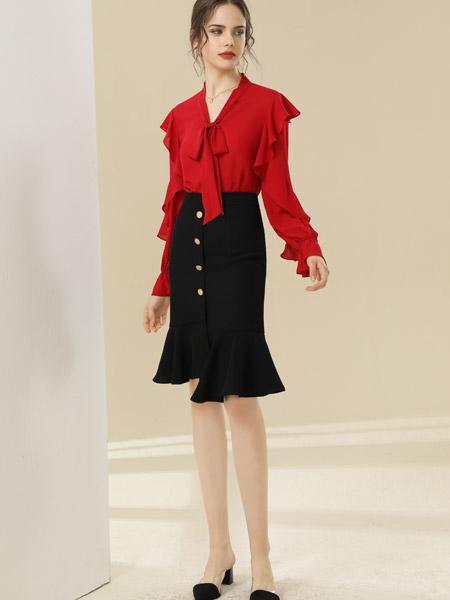 爱依莲女装品牌彩38平台2021春夏红色气质套装