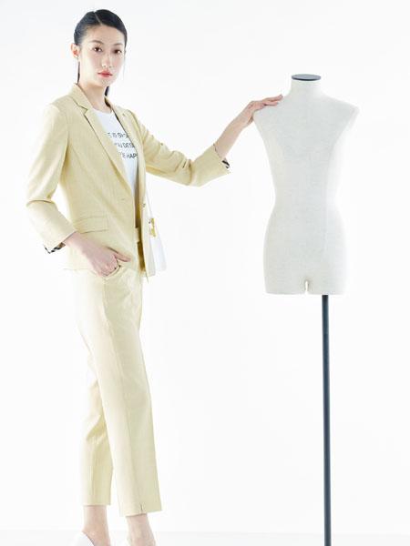 白领女装品牌2021春夏浅黄色西装