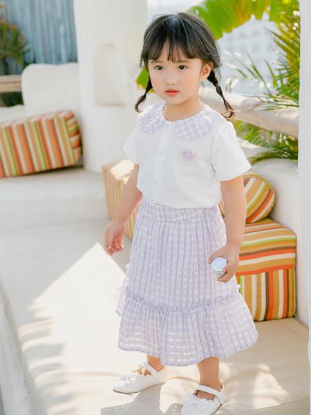 小猪宾果童装品牌2021春夏格子蓬裙