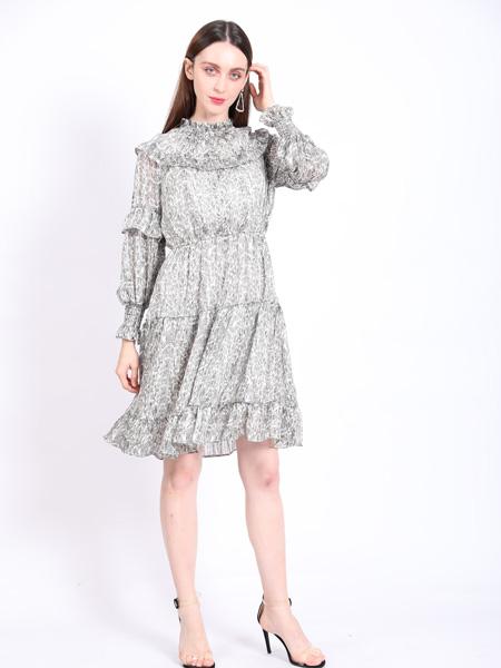 SASLAX莎斯�R思女�b品牌2021春夏褶�花浪�B衣裙