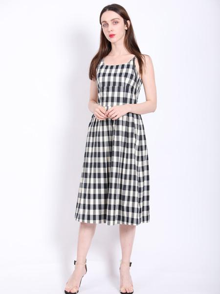 SASLAX莎斯莱思女装品牌2021春夏格子连衣裙