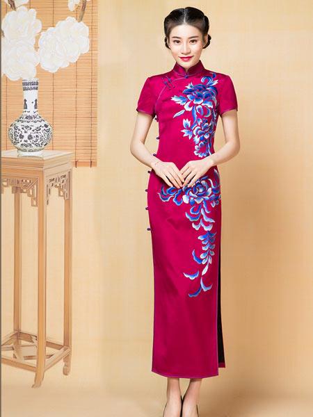 盖世红颜女装品牌2021春夏新款中式礼服女复古加厚重绉真丝老上海旗袍裙