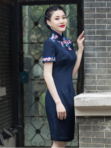 盖世红颜女装品牌2021春夏短款藏青旗袍
