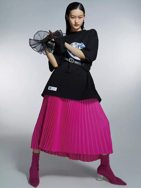 欧点OU.女装品牌2021春夏下半身褶皱紫粉色裙