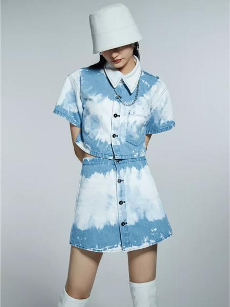欧点OU.女装品牌2021春夏蓝白色斑驳翻领套裙