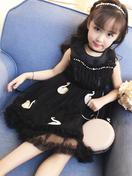 宾果童话童装品牌2021春夏无袖黑色网纱裙