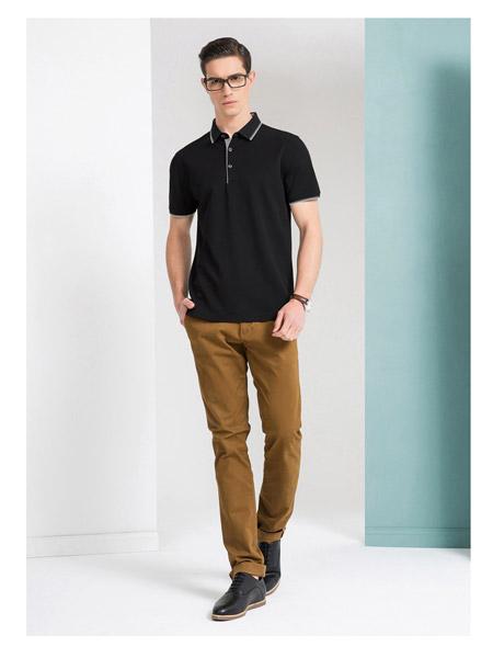 爱迪丹顿男装品牌春夏黑色短袖上衣服卡其色休闲裤